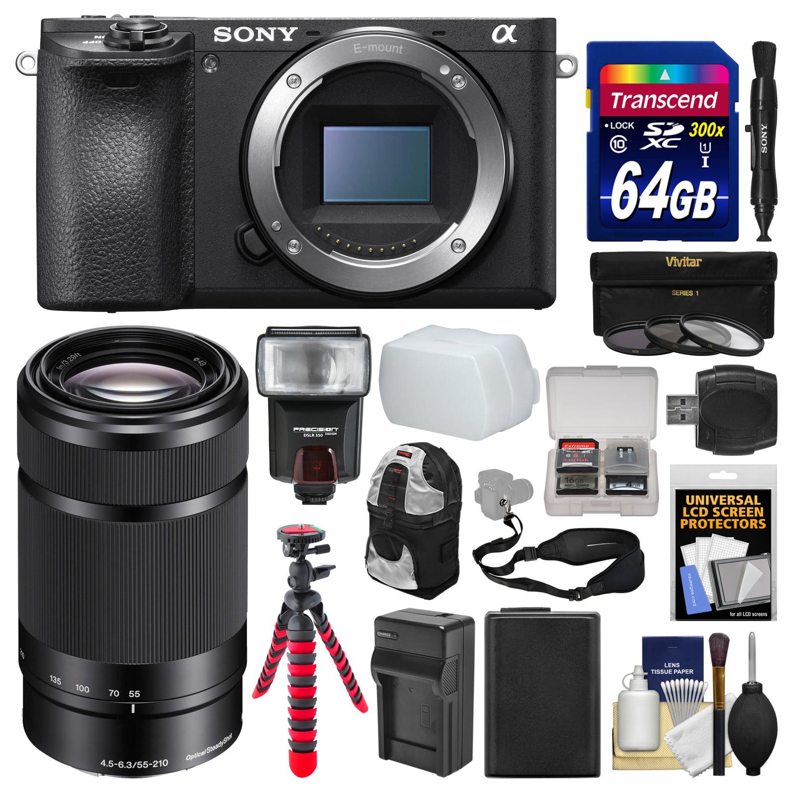 Sony Alpha A6500 4K Wi-Fi Digital Camera Body with 55-210mm Lens + 64GB Card + Backpack + Flash + Battery &... by Sony