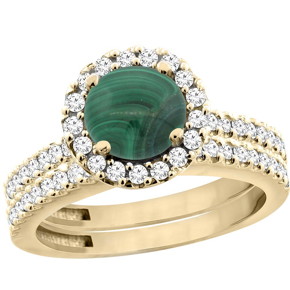 14K Yellow Gold Natural Malachite Round 6mm 2-Piece Engagement Ring Set Floating Halo Diamond, size 5 by Gabriella Gold