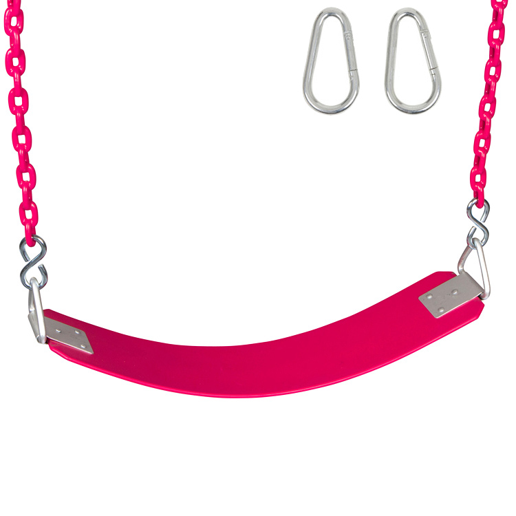 Swing Set Stuff Inc. Commercial Rubber Belt Seat with 5.5 Ft. Coated Chain (Pink)