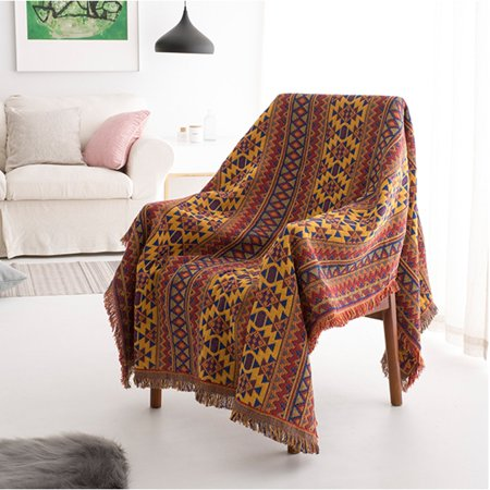 Super Soft Warm Bohemian Ethnic Cotton Blanket Throw Rug for Car Sofa Bedroom Home Decor 180*130cm