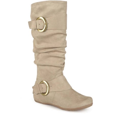 Women's Wide-Calf Buckle Knee-High Slouch Microsuede Boot