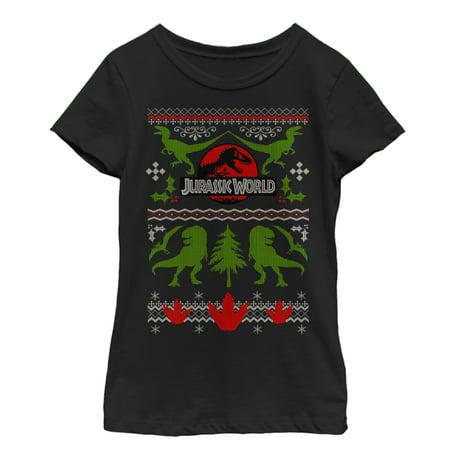 Jurassic World Girls' Ugly Christmas Sweater Print T-Shirt - Ugly Christmas Sweater Girls