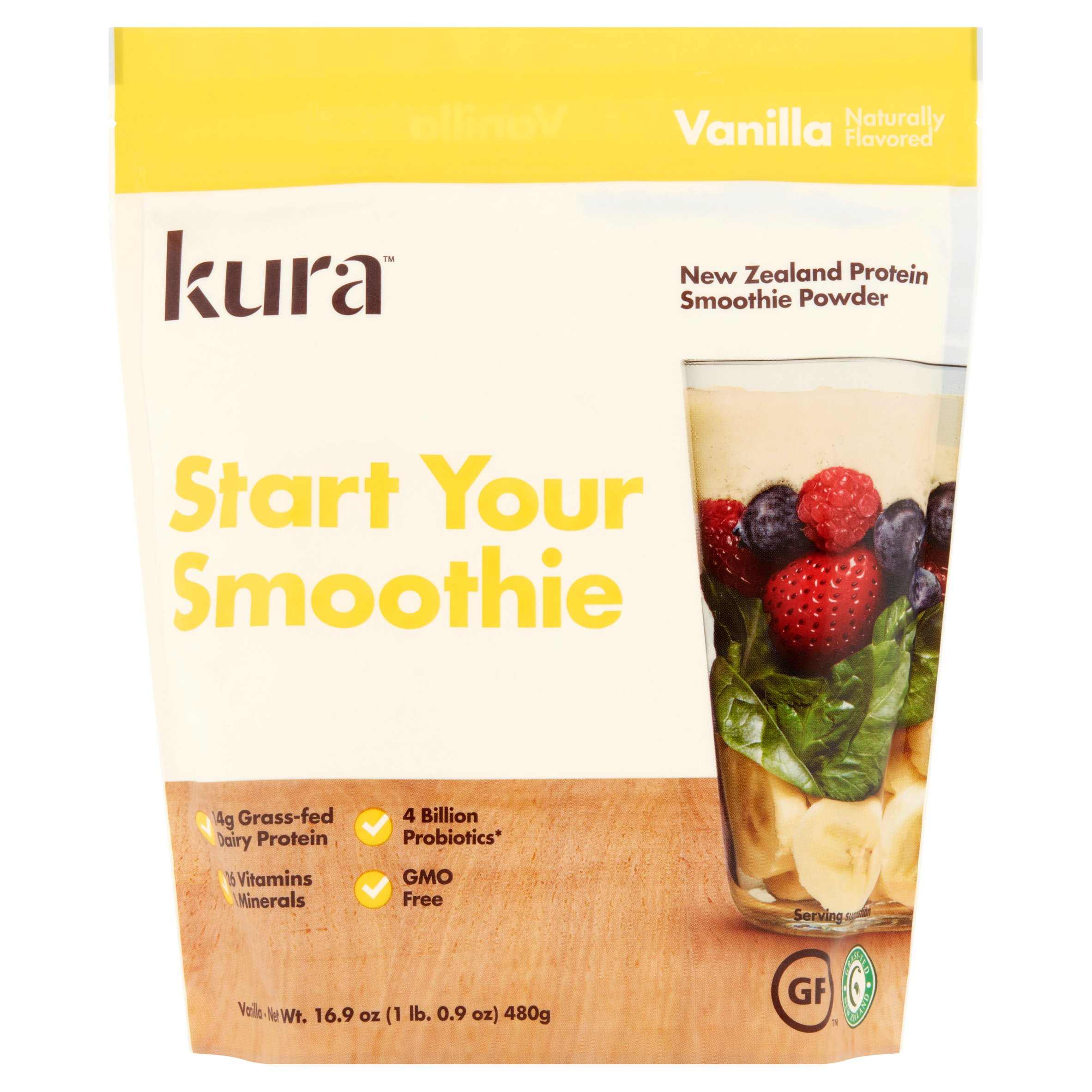 Kura Vanilla New Zealand Protein Smoothie Powder, 16.9 oz