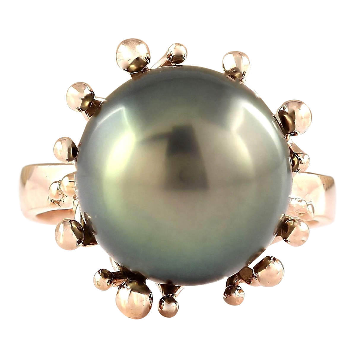 Natural 12.45mm Black Pearl Ring 14k Rose Gold by