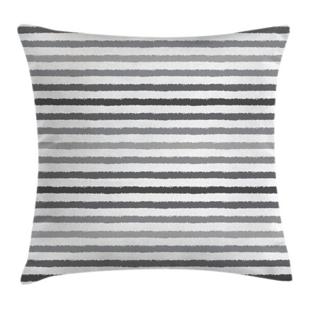 Striped Throw Pillow Cushion Cover Gray And White Stripes Monochrome Tone Brush Style Lines Grunge