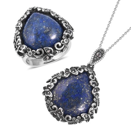 "Lapis Lazuli Hematite Black Oxidized Stainless Steel Statement Chain Pendant Necklace 20"" Cocktail Ring for Women Jewelry Set Size (10/9/8/7/6) 24.60 ctw"
