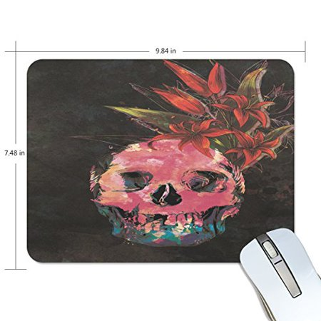 POPCreation Skeleton And Flowers Mouse pads Gaming Mouse Pad 9.84x7.87 inches