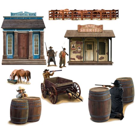 Wild West Town Cowboy Bank Shootout Wall Props Decoration