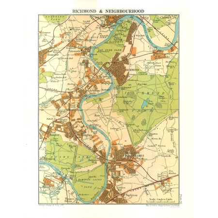 London Great Britain Map.Old Great Britain Map Richmond London Philips 1904 23 X 29 55