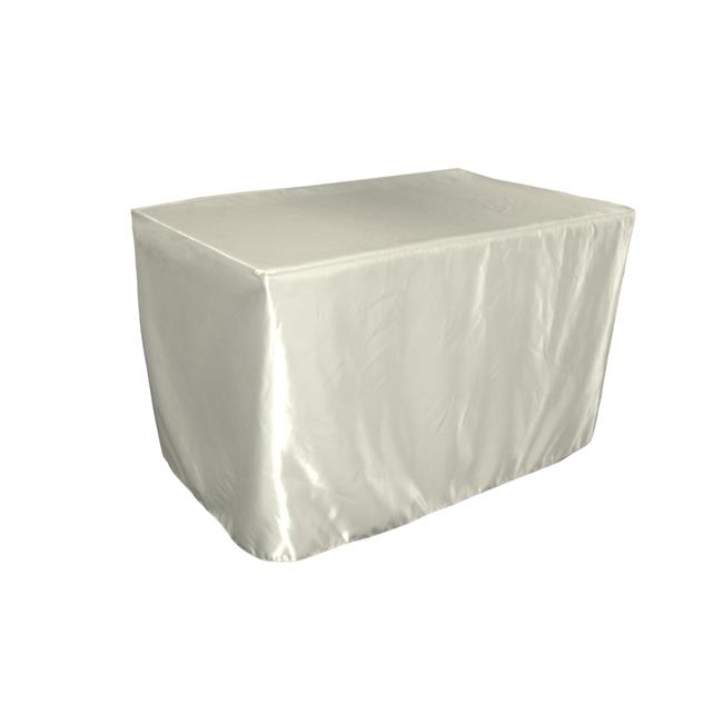 LA Linen TCbridal-fit-48x30x30-IvoryB25 Fitted Bridal Satin Tablecloth, Ivory 48 x 30 x 30... by