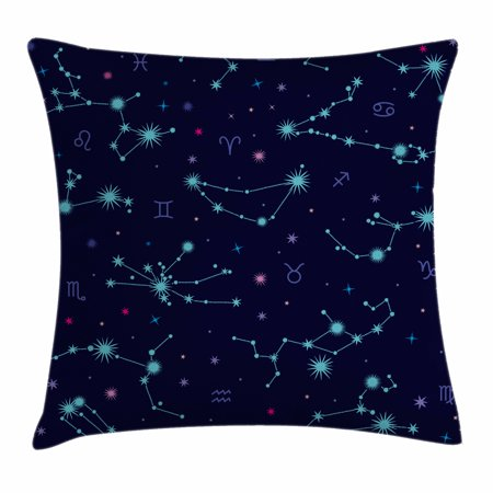 Mint Green And Pink (Astrology Throw Pillow Cushion Cover, Colorful Zodiac Horoscope Sign with Dots and Snowflake Like Image, Decorative Square Accent Pillow Case, 18 X 18 Inches, Mint Green Purple and Pink, by)