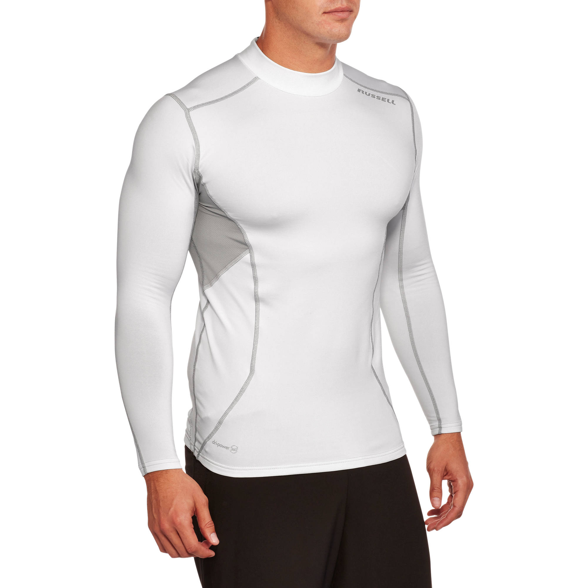 Russell Big Men's Mock Neck Cold Compression Long Sleeve Tee