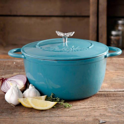 The Pioneer Woman Timeless Beauty 5-Quart Cast Iron Dutch Oven with Stainless Steel Butterfly Knob