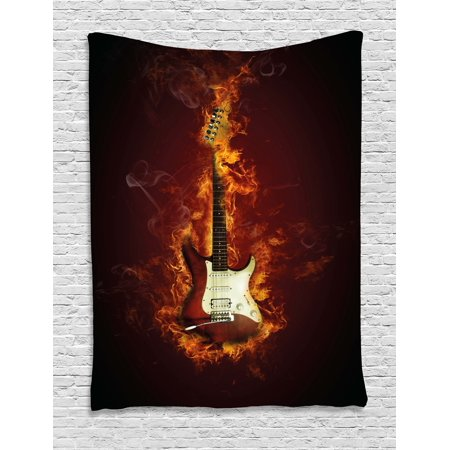 Guitar Tapestry, Electric Guitar in Flames Burning Fire Hardrock Musical Creativity Concept, Wall Hanging for Bedroom Living Room Dorm Decor, 40W X 60L Inches, Maroon Orange Black, by Ambesonne](Musical Decor)