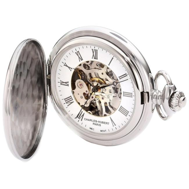 Charles-Hubert Paris 3917 Stainless Steel White Dial Mechanical Pocket Watch