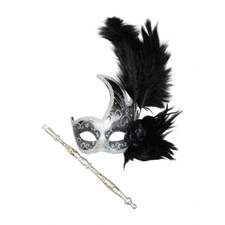Kayso FSM003BKSL Black & Silver Hand-Held Gorgeous Pink Masquerade Mask with Feather & Flower Arrangement, One - Masquerade Mask With Feathers