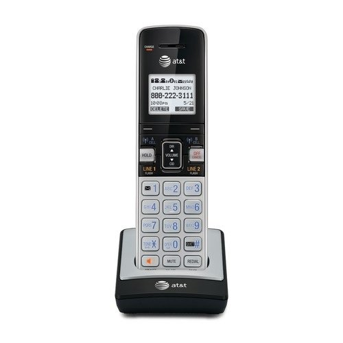 AT&T TL86003 DECT 6.0 Accessory Handset with Caller ID/Call Waiting for TL86103, Silver/Black