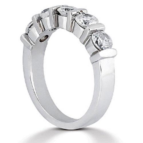 Platinum 1.5ct Round Cut Diamond Anniversary Wedding Band, Size 6, Bar Set, 0.30ct each by