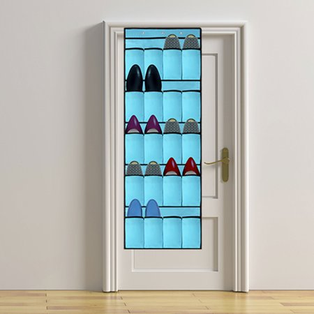 Over the Door Shoe Rack and Closet Organizer System with 20 Extra Large Heavy Duty Pockets & 3 Mental Hooks (Beige/Pink/Blue)