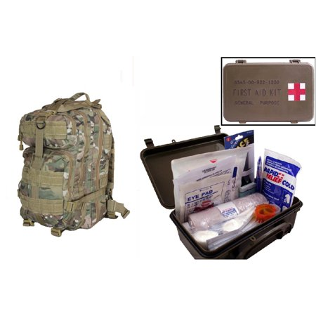 Ultimate Arms Gear Level 3 Assault Molle Taccam Camo Camouflage Backpack Kit   First Aid Trauma Kit General Purpose In Waterproof Carrying Storage Case  Usa Made  Fully Stocked 58 Piece Kit