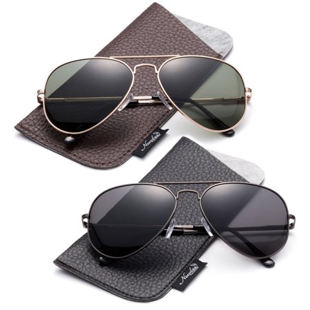 94b852544b1be Newbee - Polarized Aviator Sunglasses Mirrored Lens Classic Aviator  Polarized Sunglasses Small - Walmart.com