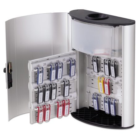 Durable Key Box (Durable Key Box Plus, 54-Key, Brushed Aluminum, Silver, 11 3/4 x 4 5/8 x 15 3/4)