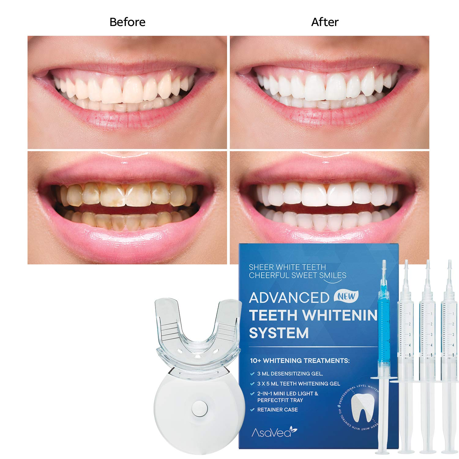 Asavea Premium Teeth Whitening Kit Led Light At Home System