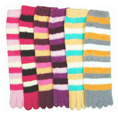 3 Pairs Lot Fuzzy Toe Socks Soft Striped Womens Thong Flip Flop Wholesale - Women Wholesale