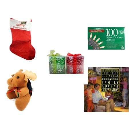 "Christmas Fun Gift Bundle [5 Piece] - Jumbo ""Merry "" Red Felt Stocking 15"" x 32"" -  Time 100 Light Indoor/Outdoor Light Set -  Green & Red Tealight Holders Set -  Moose With Plaid Backpack  5"" - Chr"