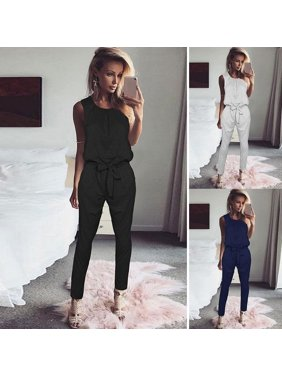 2b37433c0 Product Image Women Casual O-Neck Sleeveless High Waist Solid Jumpsuit
