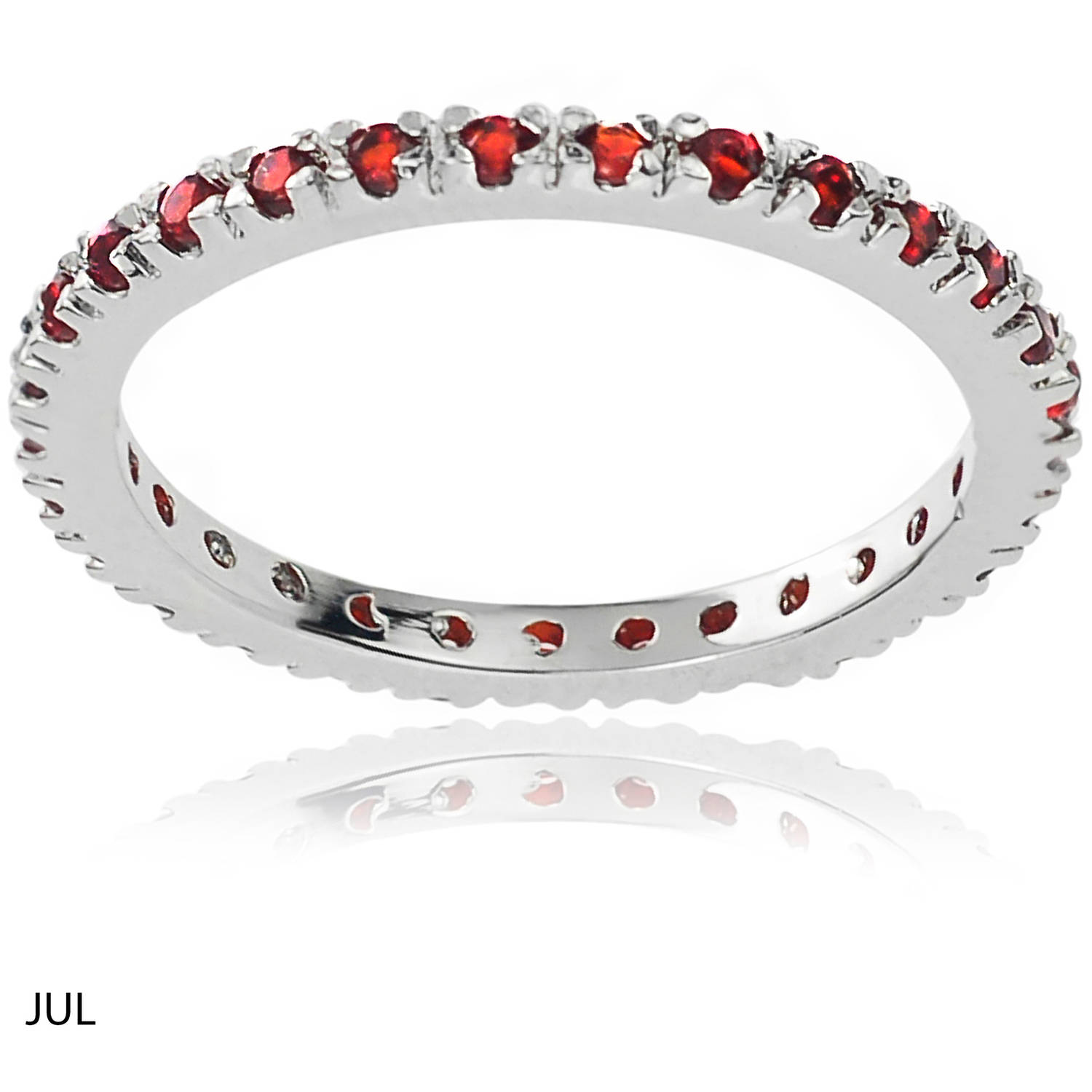Alexandria Collection Women's CZ Sterling Eternity Anniversary Ring, Red