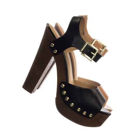 Mally by Delicious, Sculpted Retro Wood Block Heel Sandal - Lightweight Clogs Platform Shoe