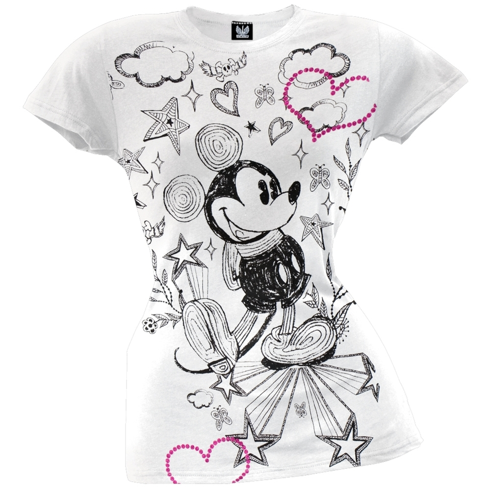 Mickey Mouse - Pencil Drawing Juniors T-Shirt
