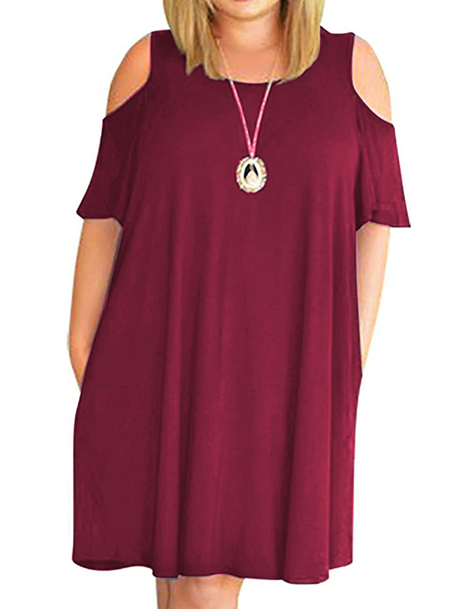 Cold Shoulder Women Casual Pure Color Loose Plus Size Dress
