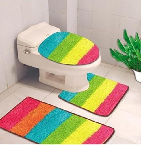 3-Piece Quinn Solid Bathroom Rug Set Bath Mat Contour & Toilet Lid Cover - Rainbow