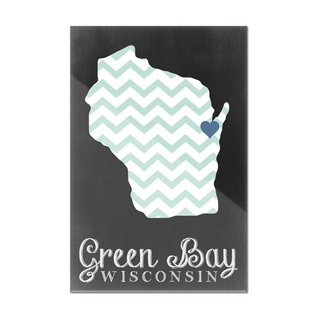 Green Bay, Wisconsin - Chalkboard - Lantern Press Poster (8x12 Acrylic Wall Art Gallery Quality) Acrylic Low Bay Lights