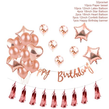 Outgeek Party Decoration Set Assorted Types Rose Gold Latex Balloons Foil Balloons Party Supplies for Wedding Birthday Christmas Party Decor](Birthday Decoration Stores)