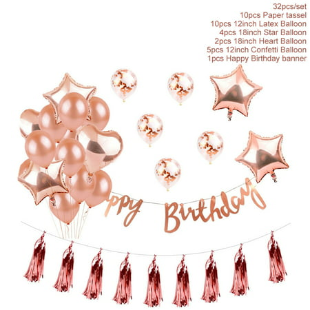 Outgeek Party Decoration Set Assorted Types Rose Gold Latex Balloons Foil Balloons Party Supplies for Wedding Birthday Christmas Party - Decorations For 18th Birthday