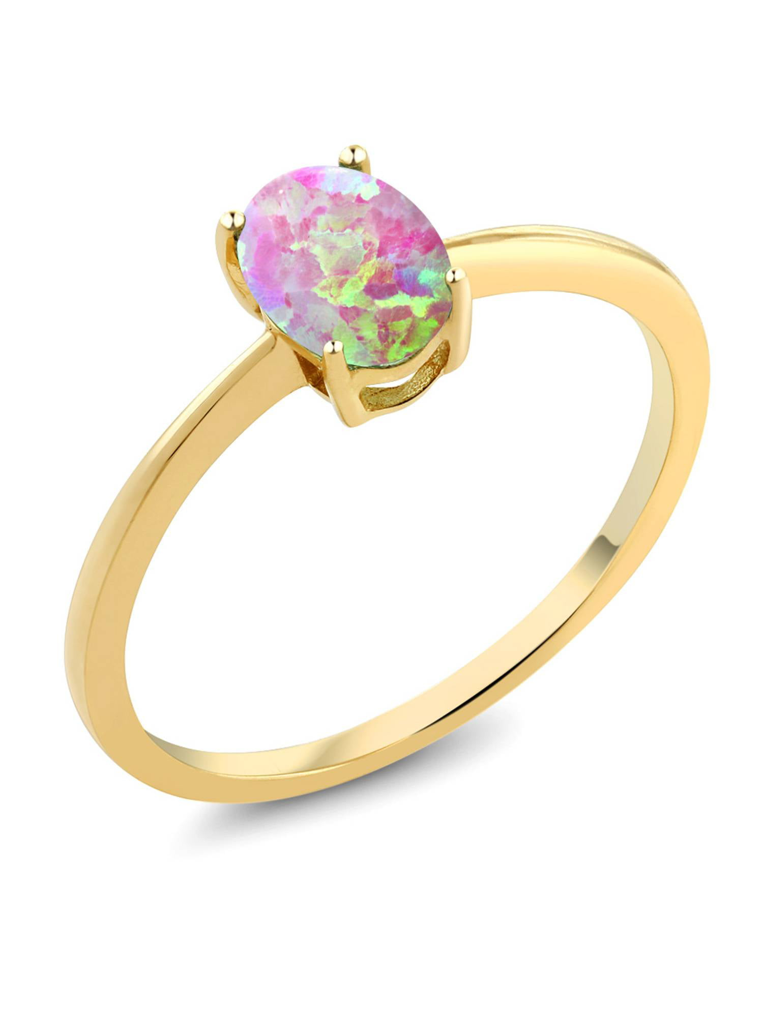 0.63 Ct Oval Pink Simulated Opal 10K Yellow Gold Solitaire Engagement Ring by Pink-Tourmaline Rings