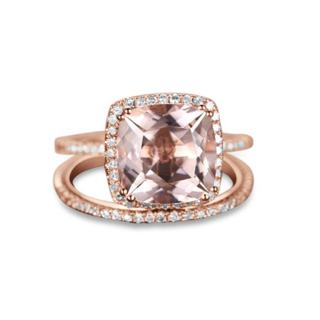 2 Carat Cushion cut Real Morganite and Diamond Bridal Wedding Ring Set with Engagement Ring and Wedding Band in 18k Gold Over Silver ()