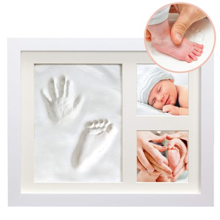 White Clay Hand/Footprint Photo Frame for Babies, Kids, and Pets - Includes 9 x Pet Photo Picture Frame