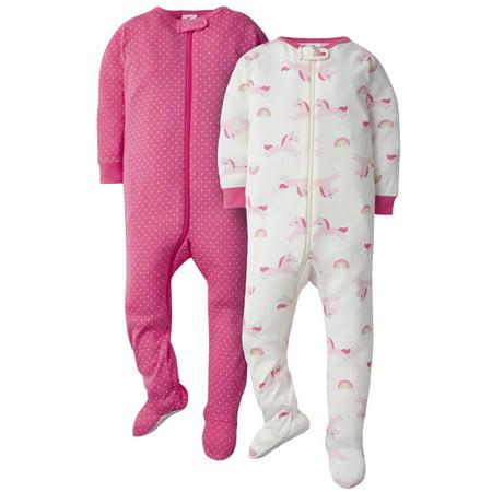 Gerber Baby Girl Footed Snug Fit Union Suit Pajamas, 2-Pack 2 Piece Thermal Long Pajamas