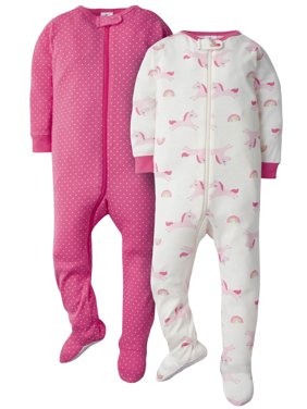 Gerber Baby Girl Footed Snug Fit Union Suit Pajamas, 2-Pack