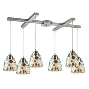 Gemstone 6-Light H-Bar Pendant Fixture in Satin Nickel with Sculpted Multi-color Glass