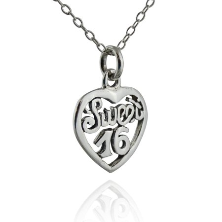 "Sterling Silver Heart-shaped Sweet 16 Charm Pendant Necklace, 18"" Chain"