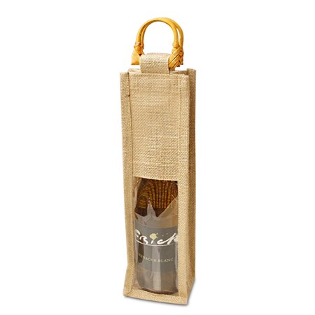 4 X 4 X 14 Natural Jute Wine Bags With Wooden Handle