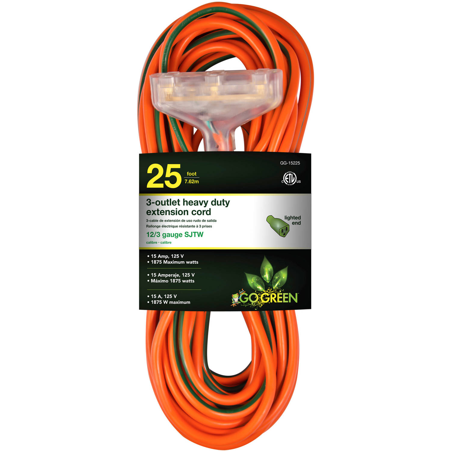 GoGreen Power 12/3 25' 15225 3-Outlet Heavy Duty Extension Cord, Lighted End