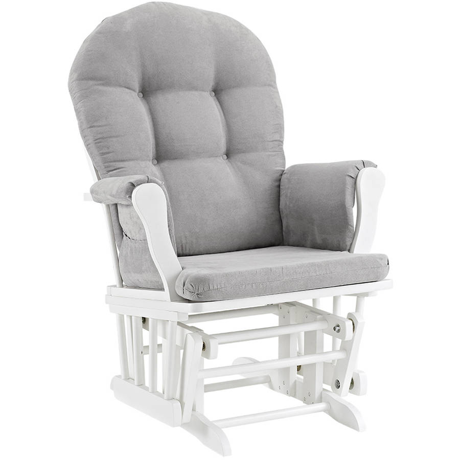 Angel Line Windsor Glider and Ottoman White Finish and Gray Cushions with Decorative Pillow Bundle Beige//Black