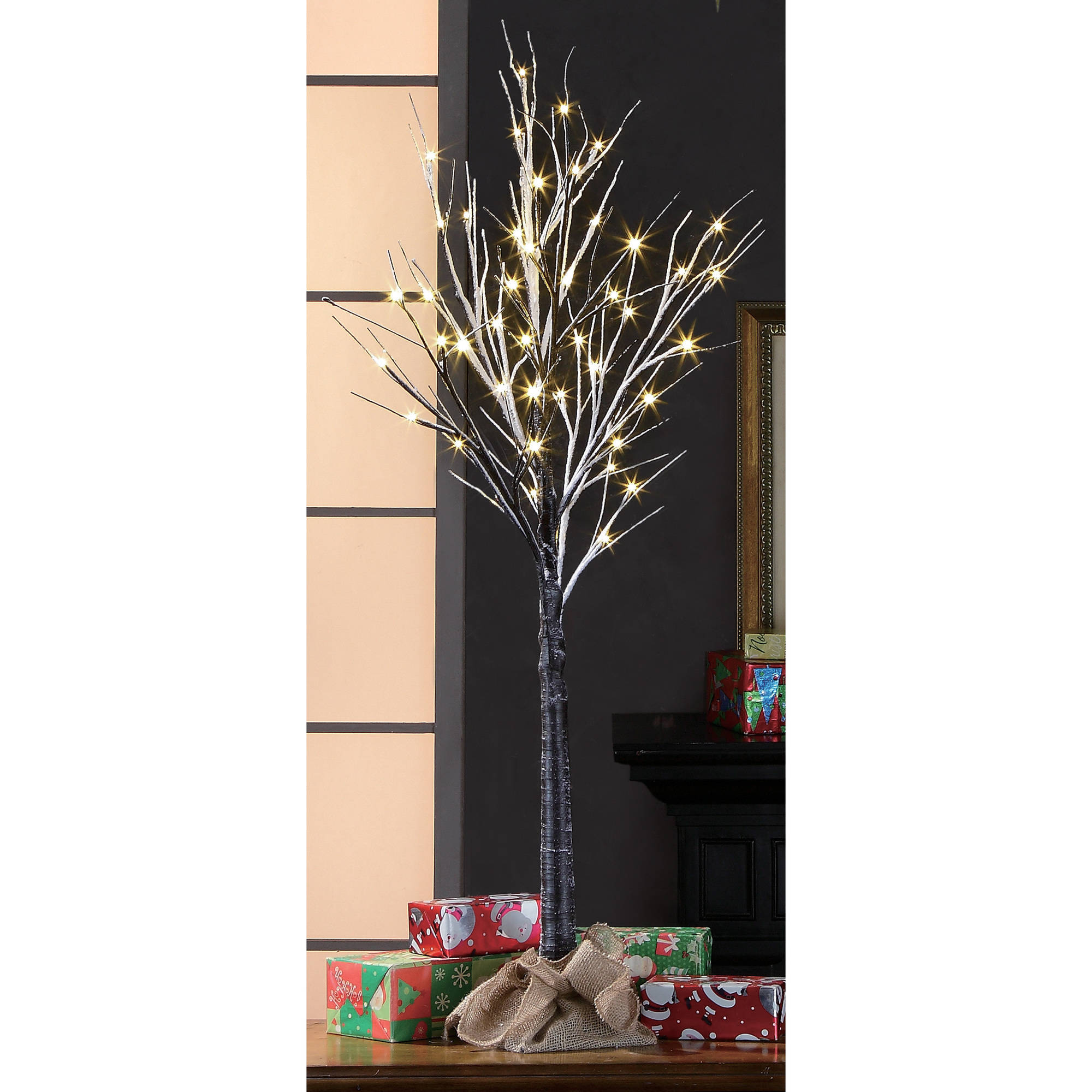 Holiday Time Pre-Lit 4' Brown Stick Artificial Christmas ...