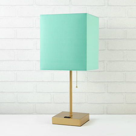 - Urban Shop Fabric Mint Shade Metallic Base Lamp